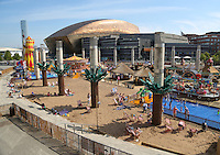 2014 July 25th<br /> Pictured: Cardiff Bay Beach<br /> RE: People enjoying Cardiff Bay Beach in the sunny weather on it's opening day.