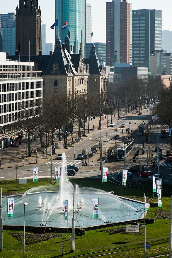 Nederland, Rotterdam, 9 maart 2014<br />  Stadsgezicht, stadsbeeld. Hofplein en coolsingel<br /> Foto(c): Michiel Wijnbergh