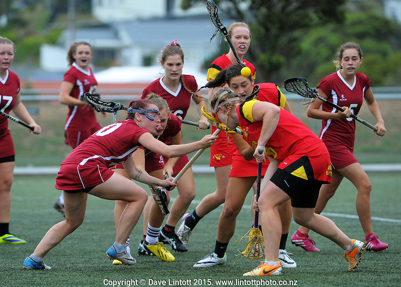 Action from the match between xxx and xxx during the National Lacrosse Tournament at Wakefield Park, Wellington, New Zealand on Saturday, 28 March 2015. Photo: Dave Lintott / lintottphoto.co.nz