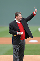 Athletics director Ray Tanner of the South Carolina Gamecocks prepares to throw out the first pitch prior to a game against the Clemson Tigers on Saturday, March 2, 2013, at Fluor Field at the West End in Greenville, South Carolina. Clemson won the Reedy River Rivalry game 6-3. (Tom Priddy/Four Seam Images)