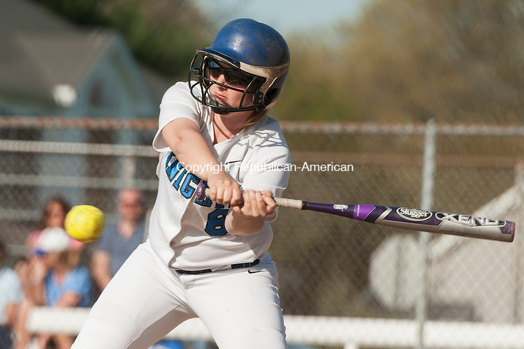 SOUTHINGTON, CT-7 May 2015-050715EC04-  Nicole White makes contact but hits a foul against Torrington Thursday in Southington. Erin Covey Republican-American