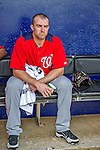 23 February 2013: Washington Nationals infielder Stephen Lombardozzi sits in the dugout awaiting the start of play prior to a Spring Training Game against the New York Mets at Tradition Field in Port St. Lucie, Florida. The Mets defeated the Nationals 5-3 in their Grapefruit League Opening Day game. Mandatory Credit: Ed Wolfstein Photo *** RAW (NEF) Image File Available ***