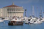 Boats and the Casino Building, Avalon Harbor, Catalina Island, California
