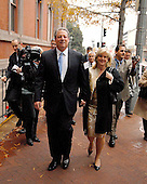 """Washington, DC - November 26, 2007 -- Former United States Vice President Al Gore walks ahead of reporters as he and his wife, Tipper walk up 17th Street to a garage after his meeting in the Oval Office with United States President George W. Bush on Monday, November 26, 2007.  Gore was at the White House as one of the Nobel Prize honorees who met with the President.  Gore refused to comment or answer any questions calling it a """"private"""" meeting..Credit: Ron Sachs / CNP.[RESTRICTION: No New York Metro or other Newspapers within a 75 mile radius of New York City]"""