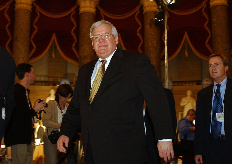 Speaker Dennis Hastert, R-Ill., walks through Statuary Hall before the State of the Union Address.