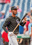 29 July 2017: Colorado Rockies outfielder Raimel Tapia awaits his turn in the batting cage prior to a game against the Washington Nationals at Nationals Park in Washington, DC. The Rockies defeated the Nationals 4-2 in the first game of their 3-game weekend series. Mandatory Credit: Ed Wolfstein Photo *** RAW (NEF) Image File Available ***