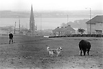 Derry Northern Ireland Londonderry. 1983. A view of St. Eugenes Cathederal from the Bishops Field, Creggan Est. with Inniscairn Road on the right.