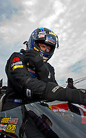 Sept. 4, 2011; Claremont, IN, USA: NHRA top fuel dragster driver David Grubnic during qualifying for the US Nationals at Lucas Oil Raceway. Mandatory Credit: Mark J. Rebilas-
