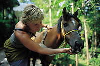 Brigitte Broche Academy Award Oscar Winner for Art Direction of Moulin Rouge in Yucatan where she spent a few days at the Hacienda Katanchel luxury hotel.  Here she checks the teeth of a local horse.