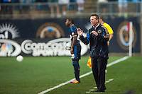 Philadelphia Union manager John Hackworth. The Philadelphia Union defeated the CD Chivas USA 3-1 during a Major League Soccer (MLS) match at PPL Park in Chester, PA, on July 12, 2013.