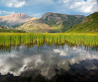 The Colorado sky is reflected in a pond next to Ute Lake in the Weminuche Wilderness.