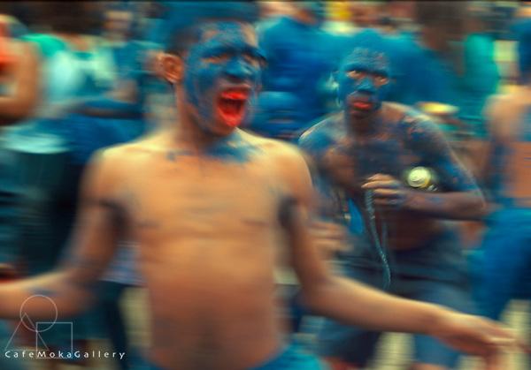 Trinidad Carnival,Traditional mas Blue Devils playing their scary mas,