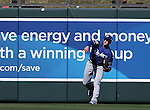 Los Angeles Dodgers&rsquo; Trayce Thompson makes a play during a spring training game in Scottsdale, Ariz., on Friday, March 18, 2016. <br />Photo by Cathleen Allison