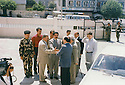 Iraq 2000 <br /> Kosrat Rassul, Prime minister in Suleimania with Mullazem Omar Abdallah welcoming visitors <br /> Irak 2000 <br /> Kosrat Rassul avec Mullazem Omar Abdallah accueillant des visiteurs a Souleimania