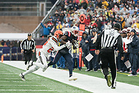 FOXBOROUGH, MA - OCTOBER 27: New England Patriots Wide Receiver Phillip Dorsett #13 is pushed over the sideline by Cleveland Browns Cornerback Greedy Williams #26 after a completed catch during a game between Cleveland Browns and New Enlgand Patriots at Gillettes on October 27, 2019 in Foxborough, Massachusetts.