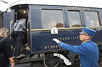 Steward oversees as people visit cars of the Venice Simplon Orient Express open for the audience at the Hungarian Railway Museum in Budapest, Hungary on Aug. 26, 2018. ATTILA VOLGYI