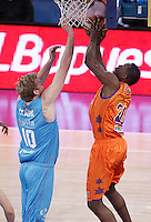 Valencia Basket Club'sFlorent Pietrus (r) and Asefa Estudiantes' Daniel Clark during Spanish Basketball King's Cup match.February 07,2013. (ALTERPHOTOS/Acero) /NortePhoto