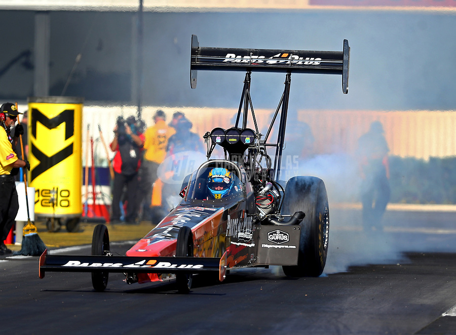 Feb 9, 2018; Pomona, CA, USA; NHRA top fuel driver Clay Millican during qualifying for the Winternationals at Auto Club Raceway at Pomona. Mandatory Credit: Mark J. Rebilas-USA TODAY Sports