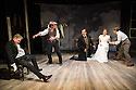 London, UK. 24.10.2014. THE GRAND-GUIGNOL, by Carl Grose, opens at Southwark Playhouse. Picture shows:  Robert Portal (Gateau), Paul Chequer (Ratineau), Andy Williams, Emily Raymond (Maxa) and Jonathan Broadbent (De Lorde). Photograph © Jane Hobson.
