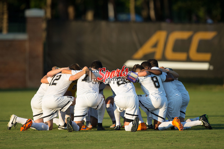 The Wake Forest Demon Deacons huddle up prior to the start of their match against the Santa Clara Broncos at Spry Soccer Stadium on August 28, 2015 in Winston-Salem, North Carolina.  The Demon Deacons defeated the Broncos 1-0.  (Brian Westerholt/Sports On Film)
