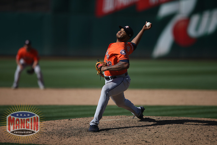 OAKLAND, CA - JUNE 2:  Josh James #39 of the Houston Astros pitches against the Oakland Athletics during the game at the Oakland Coliseum on Sunday, June 2, 2019 in Oakland, California. (Photo by Brad Mangin)