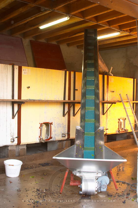 Fermentation tanks. Domaine Melinon, Morgon, Beaujolais, France