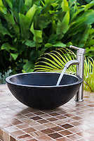 An outdoor bowl sink at a resort spa, Jamaica