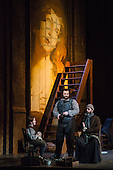 London, UK. 1 October 2016. Gwyn Hughes Jones as Cavaradossi. Dress rehearsal of the Giacomo Pucccini opera Tosca with Keri Alkema as Floria Tosca, Gwyn Hughes Jones as Mario Cavaradossi and Craig Colclough as Baron Scarpia. Donna Stirrup is the revival director of Catherine Malfitano's original ENO production of Tosca, set design by Frank Philipp Schlössman. 13 performances at the London Coliseum from 3 October to 3 December 2016.