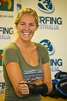 Surfing Australia Casuarina Beach New South Wales(Monday January 17, 2011) .Professional surfer Stephanie Gilmore (AUS) was in attendance at the Quiksilver Surfing Australia High Performance Surf Camp today. Gilmore couldn't surf because of a broken wrist suffered in an unprovoked assult but answered questions,  signed autographs and watched Surfing Australia coaches Samba Mann and Gary Cruikshank conduct video analysis of each surfers waves..Photo: joliphotos.com