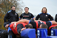 Kane Palma-Newport, Henry Thomas and Ross Batty watch a scrummaging session. Bath Rugby training session on November 25, 2014 at Farleigh House in Bath, England. Photo by: Patrick Khachfe / Onside Images