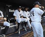 (L-R) Ichiro Suzuki, Eduardo Nunez, Robinson Cano (Yankees),.APRIL 26, 2013 - MLB :.Ichiro Suzuki of the New York Yankees sits in the dugout during the baseball game against the Toronto Blue Jays at Yankee Stadium in The Bronx, New York, United States. (Photo by AFLO)