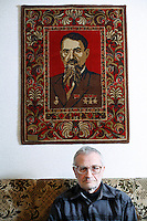 When Valentin Kupny retired as supervisor of the Chernobyl Sarcophagus, he was given a carpet decorated with the portrait of physicist Igor Kurchatov, founder of the Soviet atomic program.  <br /> ------------------- <br /> This photograph is part of Michael Forster Rothbart's After Chernobyl documentary photography project.<br /> © Michael Forster Rothbart 2007-2010.<br /> www.afterchernobyl.com<br /> www.mfrphoto.com <br /> 607-267-4893 o 607-432-5984<br /> 5 Draper St, Oneonta, NY 13820<br /> 86 Three Mile Pond Rd, Vassalboro, ME 04989<br /> info@mfrphoto.com<br /> Photo by: Michael Forster Rothbart<br /> Date:   1/2009    File#:  Canon 5D digital camera frame 51922<br /> ------------------- <br /> Original caption: .None