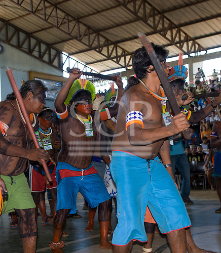 Altamira, Brazil. Kayapo men demonstrating their opposition to proposed hydroelectric dams at the Encontro Xingu protest meeting.