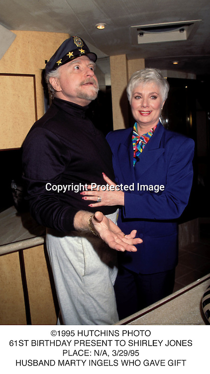 ©1995 HUTCHINS PHOTO.61ST BIRTHDAY PRESENT TO SHIRLEY JONES.PLACE: N/A, 3/29/95.HUSBAND MARTY INGELS WHO GAVE GIFT