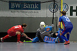 GER - Mannheim, Germany, January 28: During the playoff men hockey match between Mannheimer HC (blue) and Crefelder HTC (red) on January 28, 2017 at Irma-Roechling Halle in Mannheim, Germany. Final score 4-2 (HT 2-2). (Photo by Dirk Markgraf / www.265-images.com) *** Local caption ***