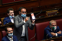 The Lega deputy Rossano Sasso show the symbol of communism, sickle and hammer, on his phone during the information about the next European Council at the Chamber of Deputies. Rome (Italy), July 15th 2020<br /> Foto Pool Paolo Tre Insidefoto