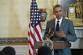 United States President Barack Obama speaks to participants in the White House Mentorship and Leadership Graduation Ceremony, Monday, June 15, 2015 in the Blue Room of the White House in Washington, D.C.  The program, which includes more than two dozen young people from the Washington, DC, Maryland and Virginia metro area, is aimed at making a concrete impact on a group of young people by providing them with mentoring, advice, encouragement, and exposure to new opportunities. The program connects mentees with staffers working in the White House and across the Administration.<br /> Credit: John Harrington / Pool via CNP