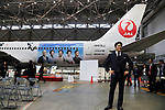 "April 21, 2018, Tokyo, Japan - Japanese actor Ryohei Suzuki attends the unveiling ceremony for a wrapped jetliner with pictures of casts of a TV drama ""Segodon"" at a JAL hanger of Tokyo's Haneda airport on Saturday, April 21, 2018. JAL started domestic services of the Segodon-jet on April 21.   (Photo by Yoshio Tsunoda/AFLO) LWX -ytd-"