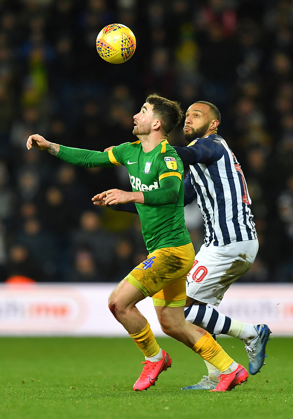 Preston North End's Sean Maguire battles with West Bromwich Albion's Matt Phillips<br /> <br /> Photographer Dave Howarth/CameraSport<br /> <br /> The EFL Sky Bet Championship - West Bromwich Albion v Preston North End - Tuesday 25th February 2020 - The Hawthorns - West Bromwich<br /> <br /> World Copyright © 2020 CameraSport. All rights reserved. 43 Linden Ave. Countesthorpe. Leicester. England. LE8 5PG - Tel: +44 (0) 116 277 4147 - admin@camerasport.com - www.camerasport.com