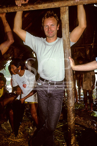 Capoto village, Brazil. Sting inside a Megranoti-Kayapo house in the Xingu Indigenous Reserve; Nov 1990.