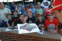 Young fans ask for autographs after the Under Armour All-American Game on August 24, 2013 at Wrigley Field in Chicago, Illinois.  (Mike Janes/Four Seam Images)