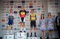Belgian National Road Championships 2019 - Gent podium:<br /> 1/ Tim Merlier (BEL/Corendon - Circus)<br /> 2/ Timothy Dupont (BEL/Wanty - Gobert)<br /> 3/ Wout van Aert (BEL/Jumbo - Visma)<br /> <br /> ©kramon
