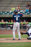 Potomac Nationals second baseman David Masters (8) at bat during the first game of a doubleheader against the Lynchburg Hillcats on June 9, 2018 at Calvin Falwell Field in Lynchburg, Virginia.  Lynchburg defeated Potomac 5-3.  (Mike Janes/Four Seam Images)