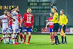 S&ouml;dert&auml;lje 2014-11-09 Fotboll Kval till Superettan Assyriska FF - &Ouml;rgryte IS :  <br /> Assyriskas Sotiris Papagiannopoulus f&aring;r ett r&ouml;tt kort av domare Jim Petersson under matchen mellan Assyriska FF och &Ouml;rgryte IS <br /> (Foto: Kenta J&ouml;nsson) Nyckelord:  S&ouml;dert&auml;lje Fotbollsarena Kval Superettan Assyriska AFF &Ouml;rgryte &Ouml;IS utvisning r&ouml;tt kort