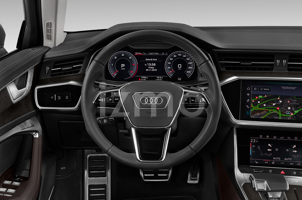 Car pictures of steering wheel view of a 2020 Audi A6 allroad quattro Base 5 Door Wagon