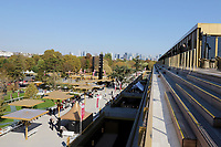 LONGCHAMP, FRANCE - October 06, 2018: View from the renovated Grandstand of the Longchamp race track, now officially called ParisLongchamp, which reopened in April 2018. La Defense area in the background