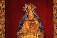 Statue of the Virgin, in the the Jesuit Church of Saints Justus and Pastor of Alcala, built 1575 on the site of a mosque in Granada, Andalusia, Southern Spain. Saints Justus and Pastor were 4th century schoolboy christian martyrs, who were killed for their faith under the persecution of the christians by the Roman emperor Diocletian. Granada was listed as a UNESCO World Heritage Site in 1984. Picture by Manuel Cohen