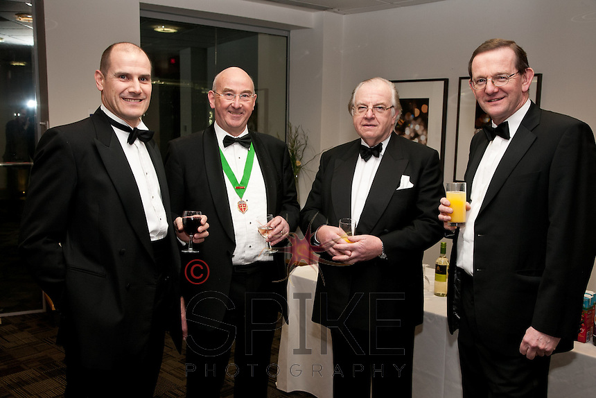 All smiles - from left, Phil Sayers, Peter Ellis, Judge Michael Stokes and Graham Hooper