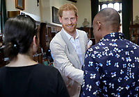 23 July 2019 - Berkshire, UK - Prince Harry Duke of Sussex meets Bella the Cockapoo with Annegret Finlay and Karsten Finlay, as he attends Dr Jane Goodall's Roots & Shoots Global Leadership Meeting at St. George's House. Photo Credit: ALPR/AdMedia