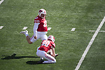 Wisconsin Badgers kicker Rafael Gaglianone (27) kicks a field goal during an NCAA College Football game against the Florida Atlantic Owls Saturday, September 9, 2017, in Madison, Wis. The Badgers won 31-14. (Photo by David Stluka)